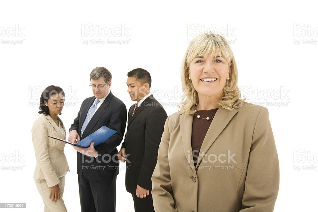 Quintessential Businesswoman and her team businessman 65 years royalty-free stock photo