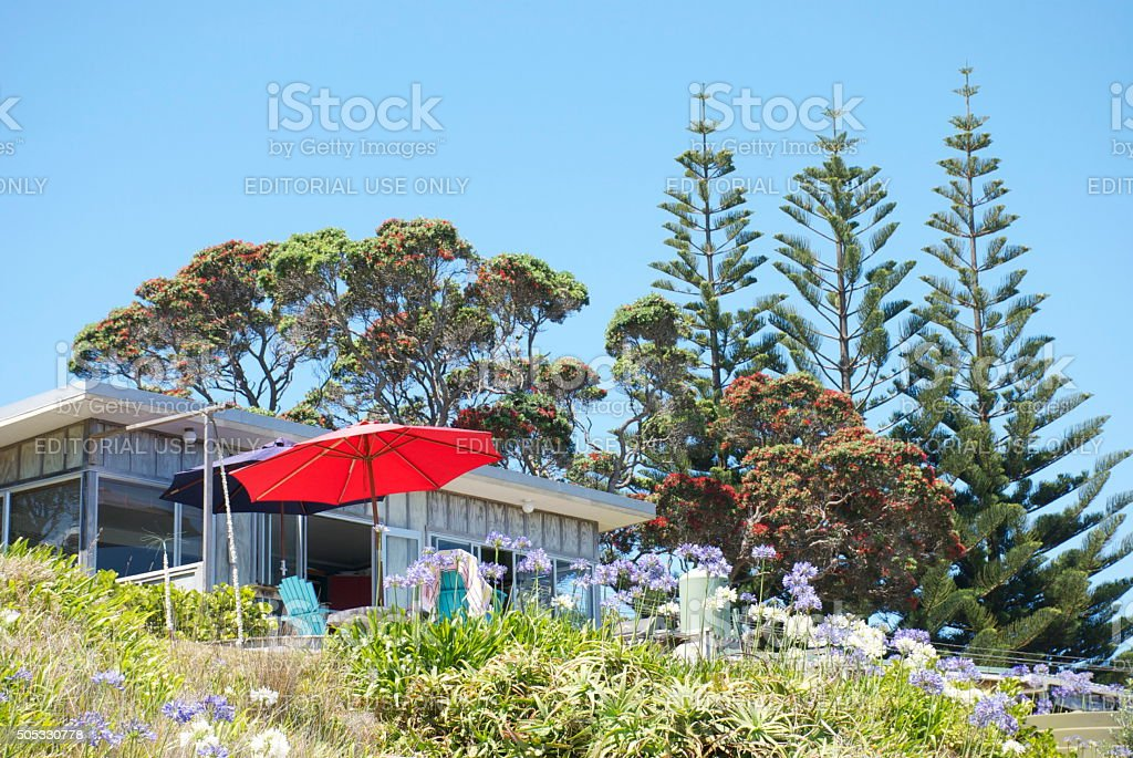 Quintessential Kiwi Bach by the Beach stock photo