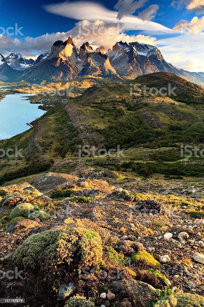 Quintessential Torres del Paine stock photo