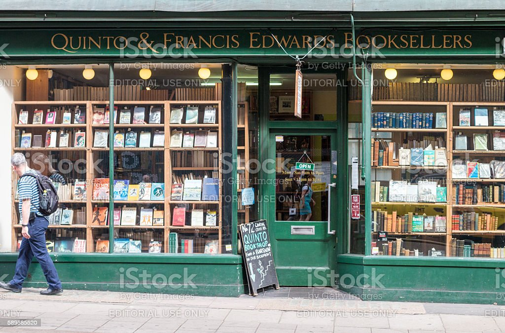 Quinto & Francis Edwards Booksellers in Charing Cross Road, London stock photo