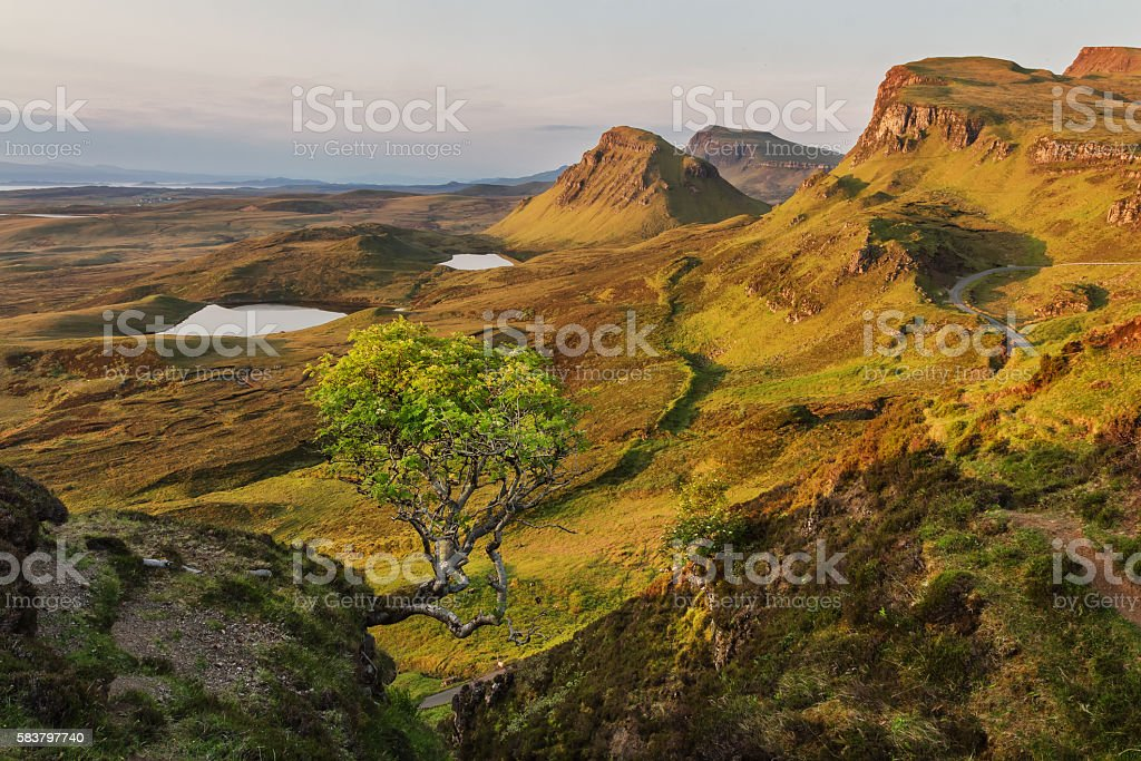 Quiraing. Dawn in unspoilt countryside highlands stock photo
