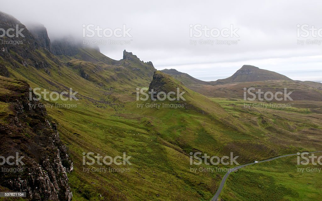 Quiraing mountain range Isle of Sky Scotland stock photo