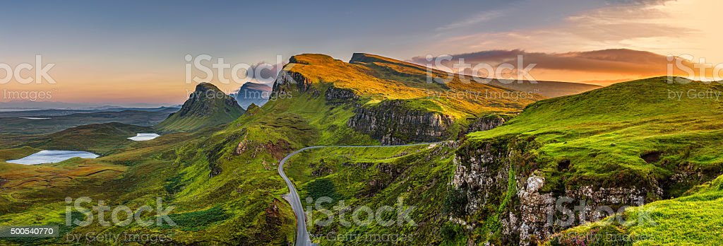 Quiraing mountains sunset at Isle of Skye, Scottland, United Kingdom stock photo