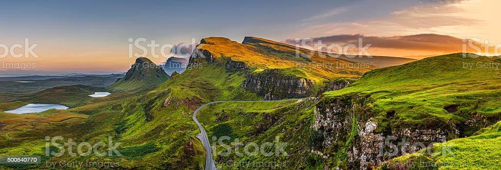 Quiraing mountains sunset at Isle of Skye, Scottland, United Kingdom stock photo