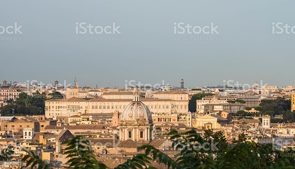 Quirinale as seen from Gianicolo, Rome, Italy stock photo