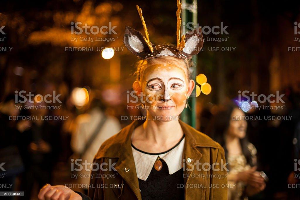 Quirky Reindeer Creature Girl  2014 Halloween NYC stock photo