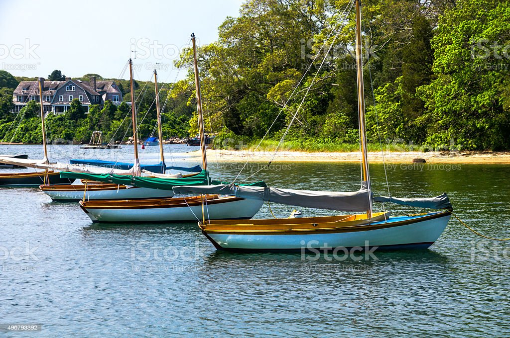 Quisset Sailboats in a Row stock photo