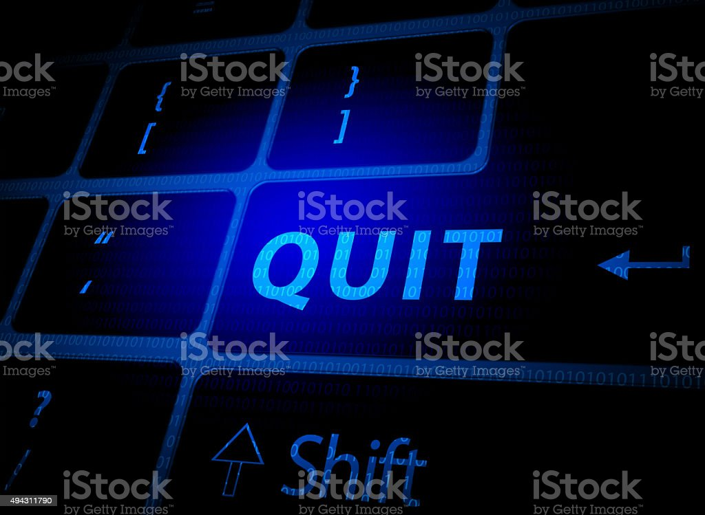 Quit button on computer keyboard vector art illustration