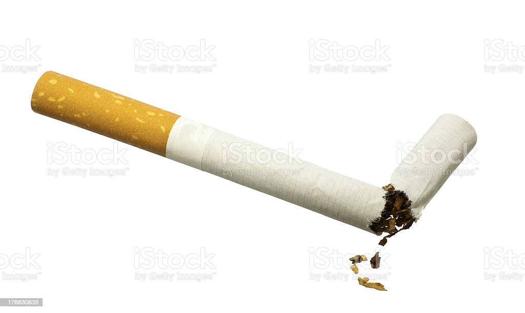 Quit Smoking - Broken cigarette isolated over white royalty-free stock photo
