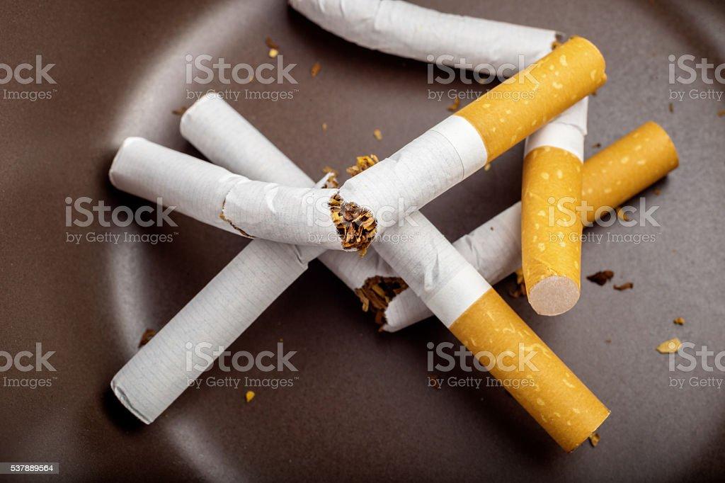 Quit Smoking - Broken unsmoked cigarettes in a white ashtray stock photo