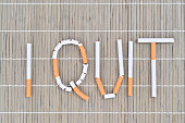 I quit smoking message made with cigarettes