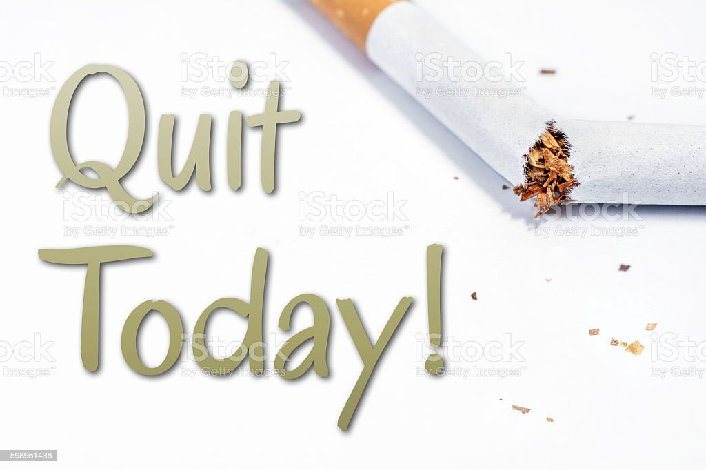 Quit Smoking Today Reminder With Broken Cigarette In Whitebox stock photo