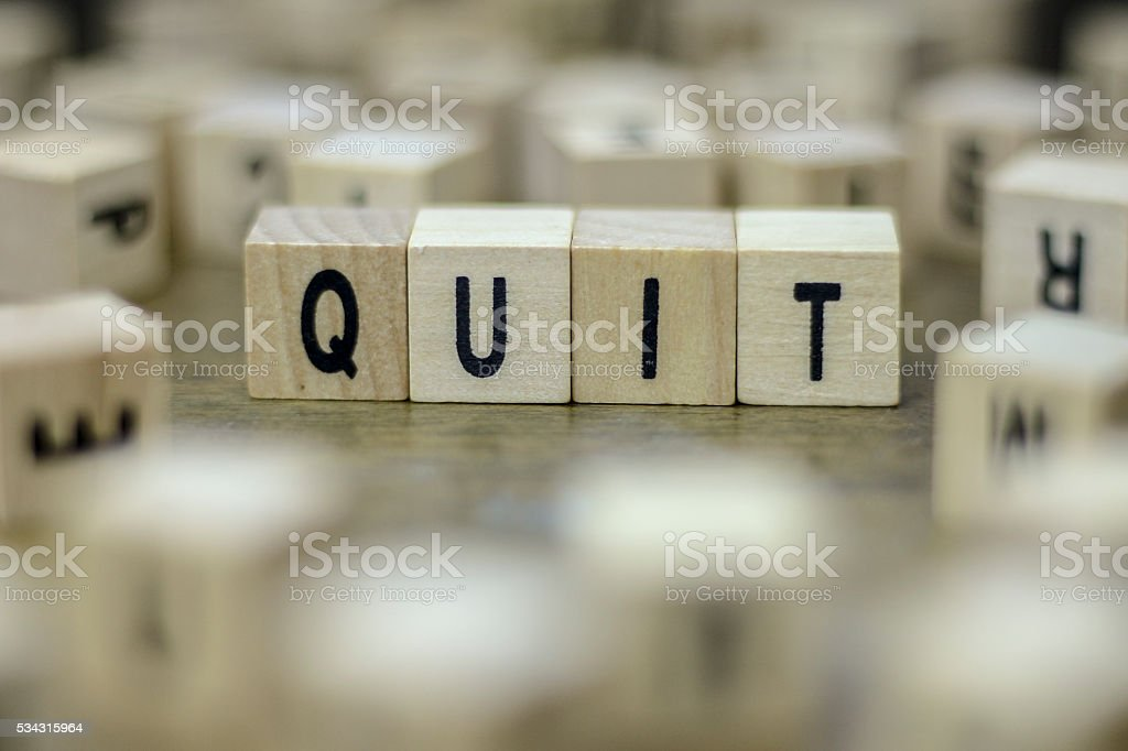 Quit word stock photo
