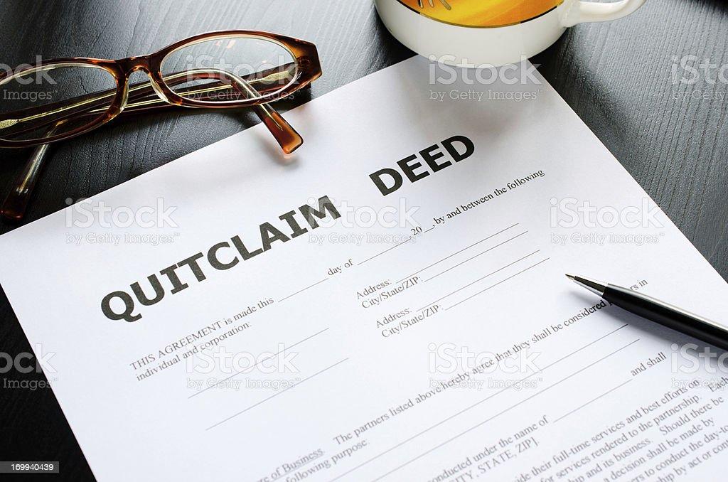 quitclaim deed stock photo