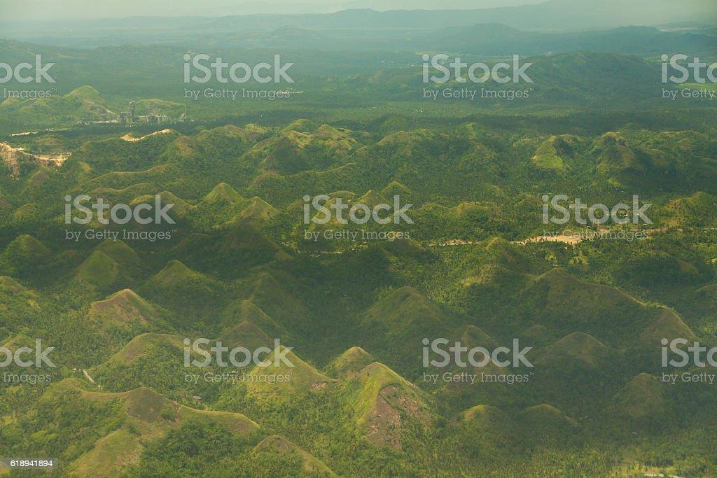 Quitinday green hill chocolate hills Legazpi, Philippines stock photo