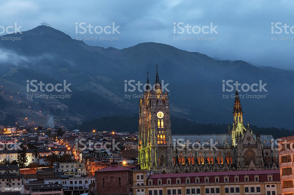 Quito Basilica at Night stock photo
