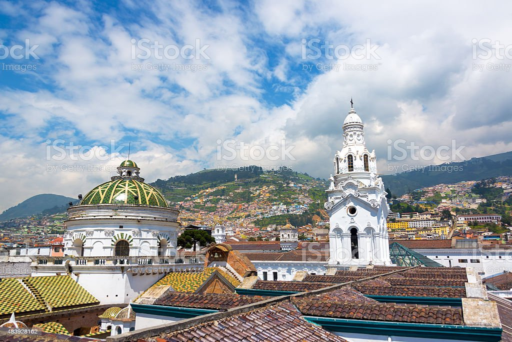 Quito Church and Hills stock photo
