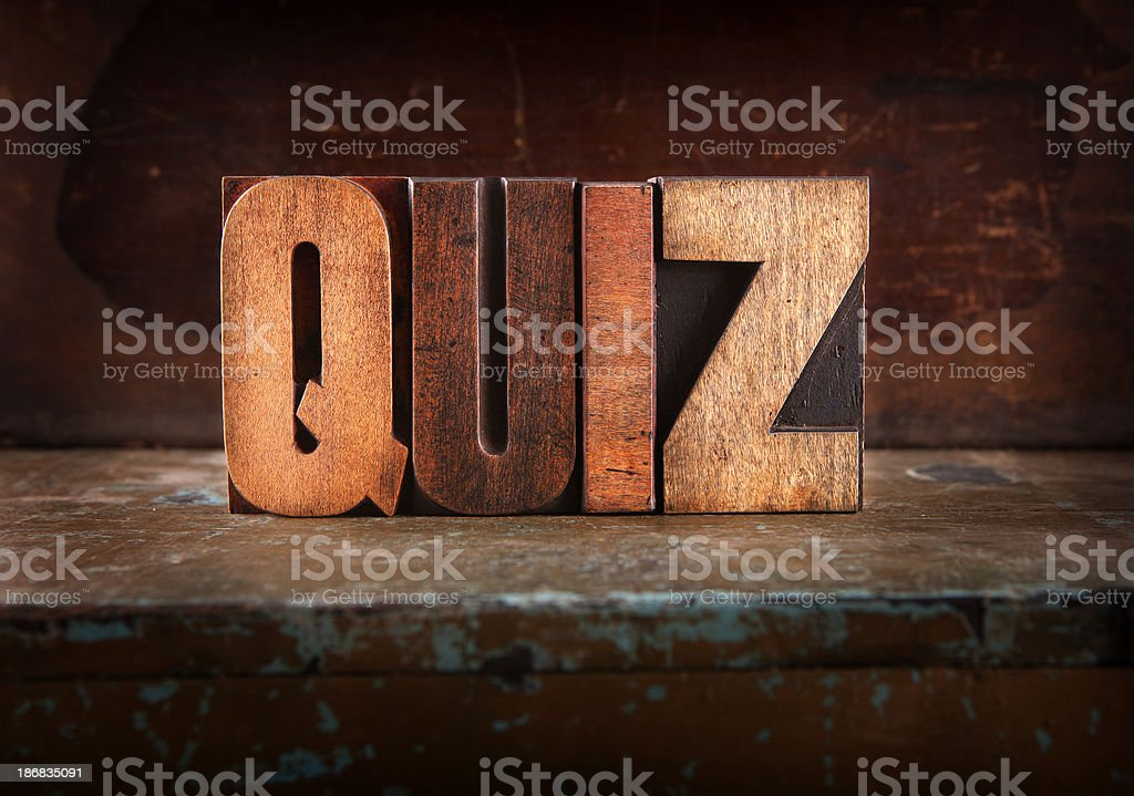 Quiz - Letterpress letters stock photo