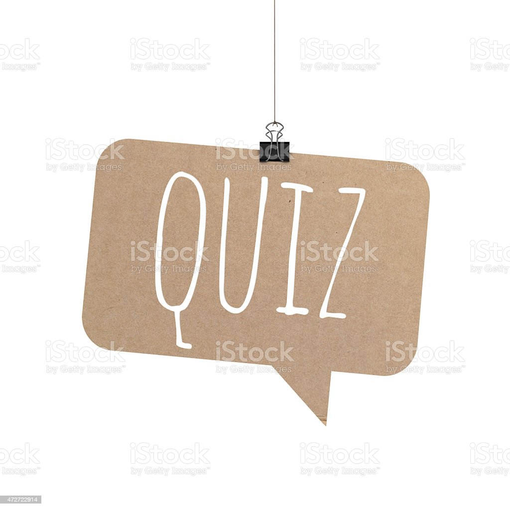 Quiz speech bubble hanging on a string stock photo