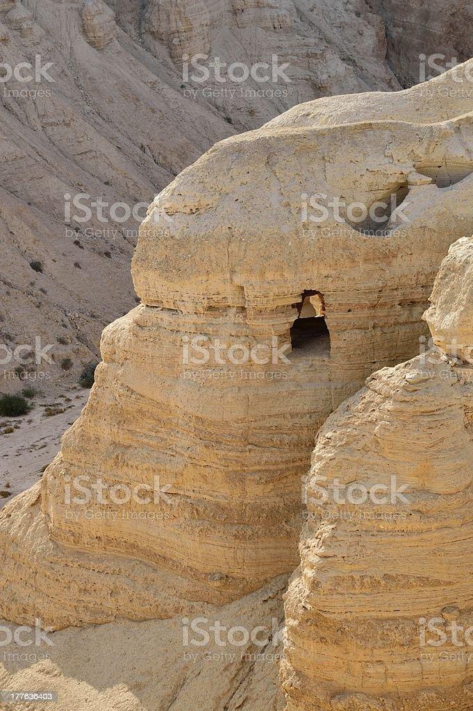 Qumran cave 4 in Khirbet Qumran, Israel stock photo