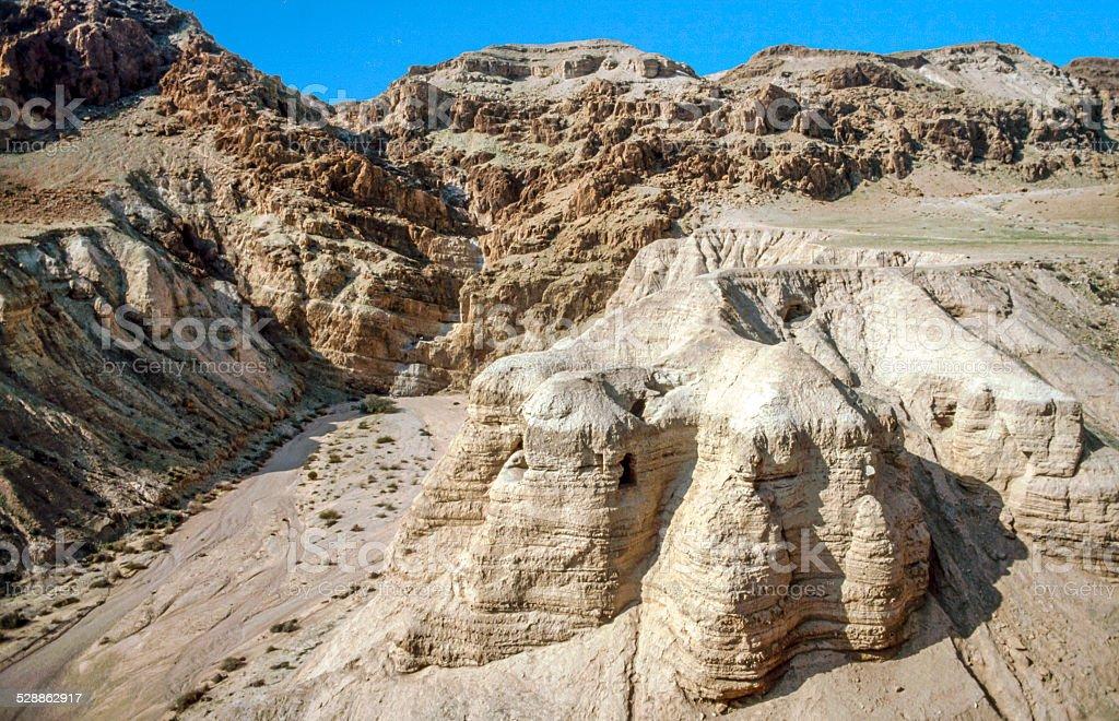 Qumran caves in Qumran National Park stock photo
