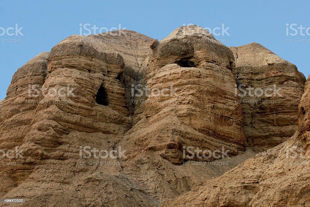 Qumran caves Israel stock photo