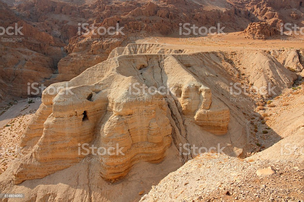 Qumran caves - Judean desert stock photo