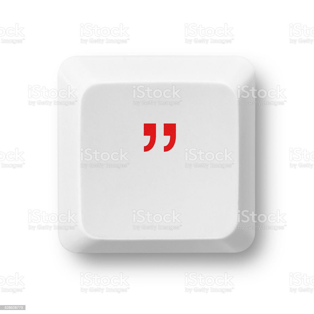 Quotation mark on a computer key isolated on white stock photo