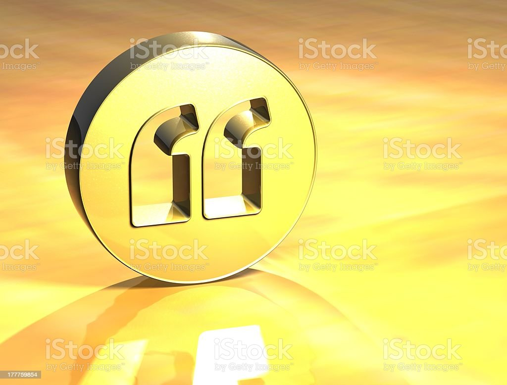 3D Quotation Marks Gold Sign stock photo