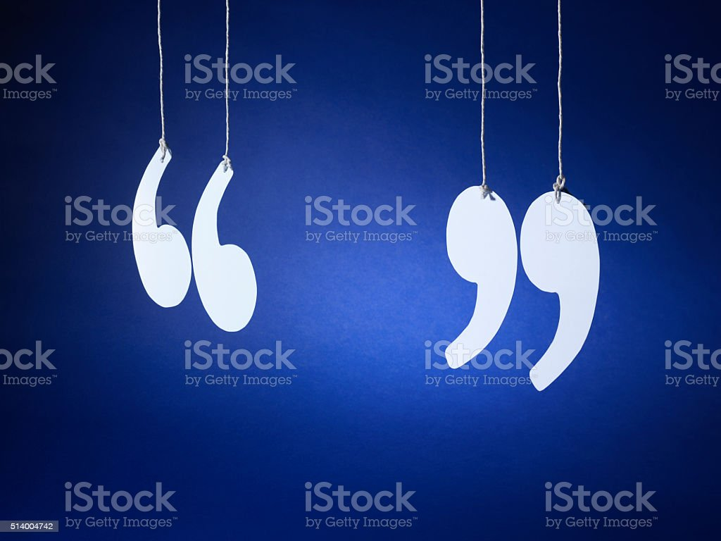 quotation marks inverted commas - Stock Image stock photo
