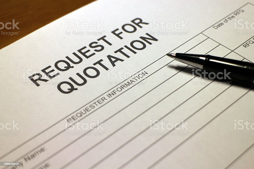 Quotation Request Form stock photo