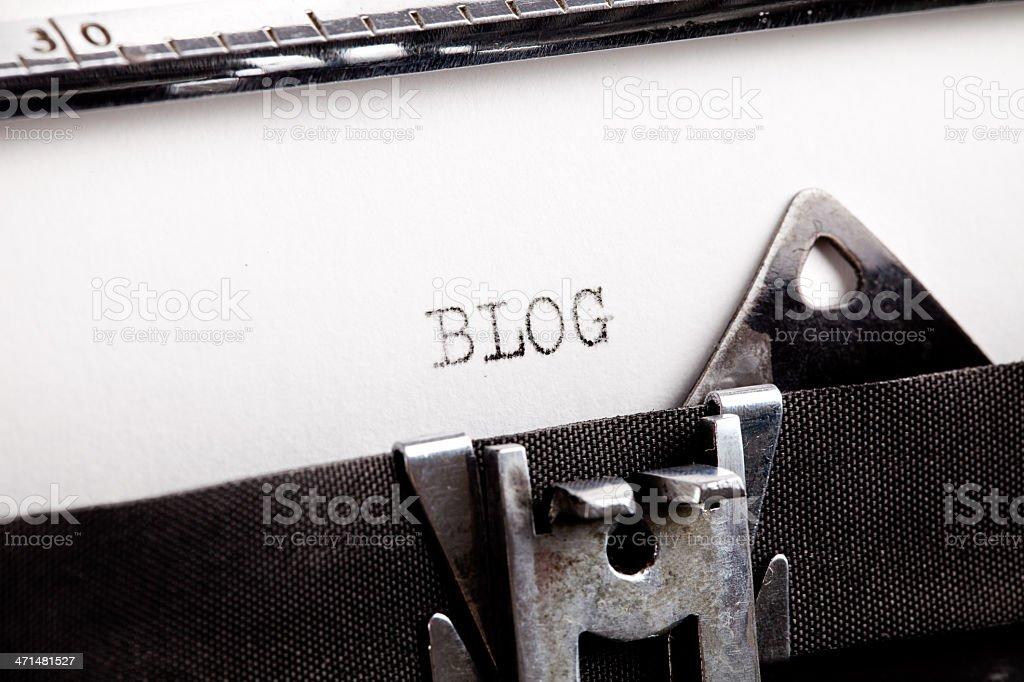 """""""BLOG"""" typed using an old typewriter royalty-free stock photo"""