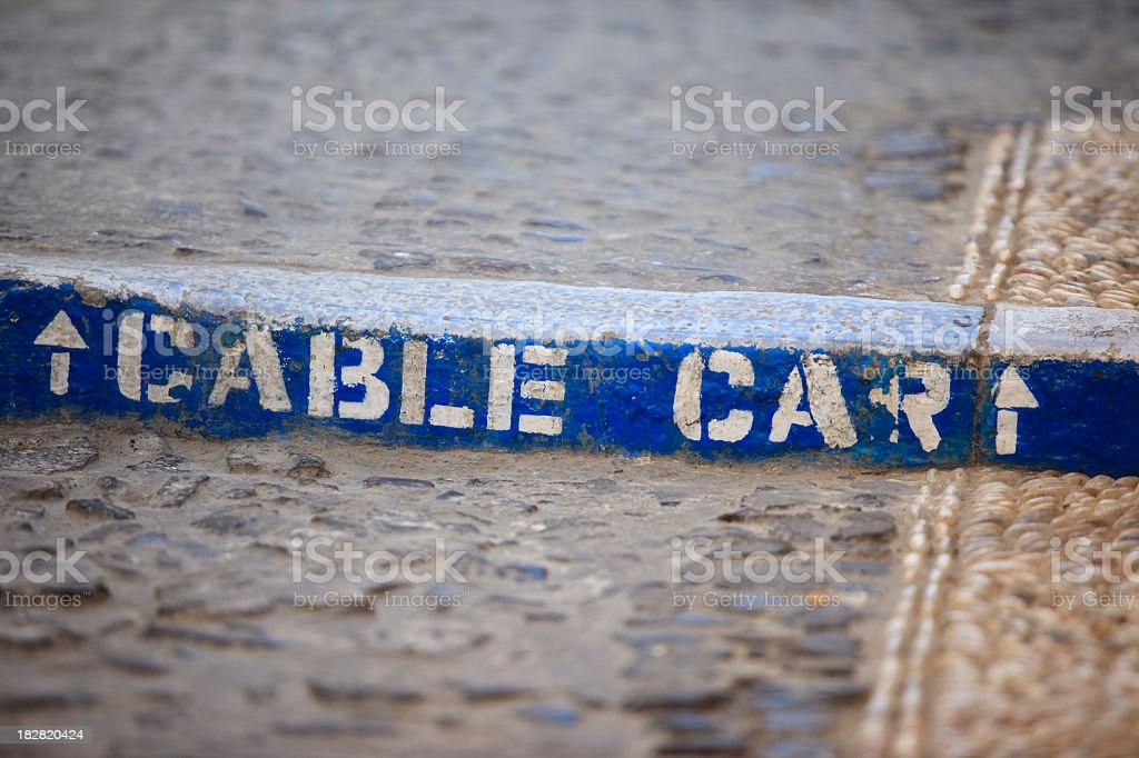 """""""Cable Car"""" written on a step stock photo"""