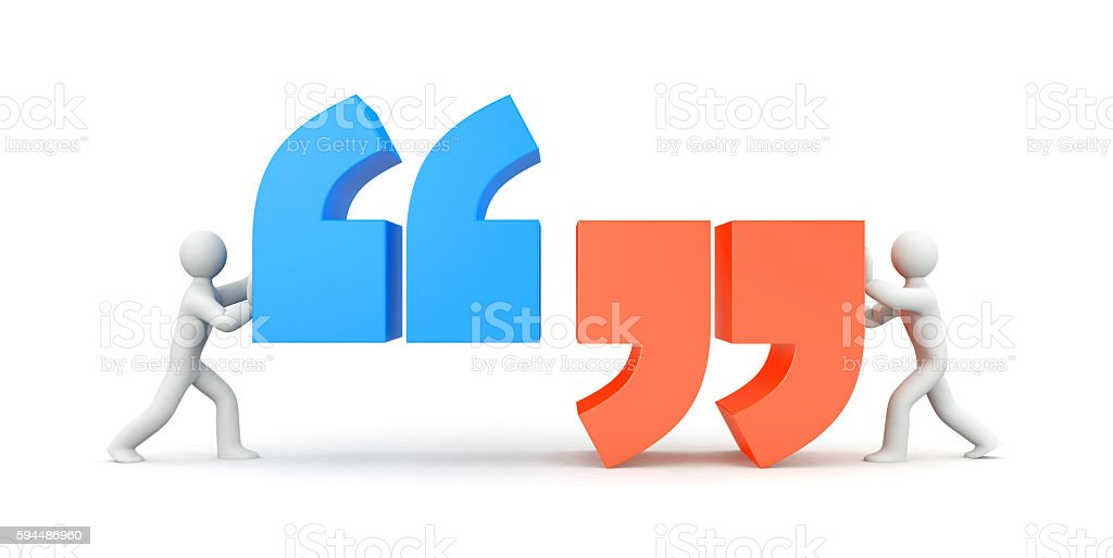 Quote. People and quote symbol. 3d illustration stock photo