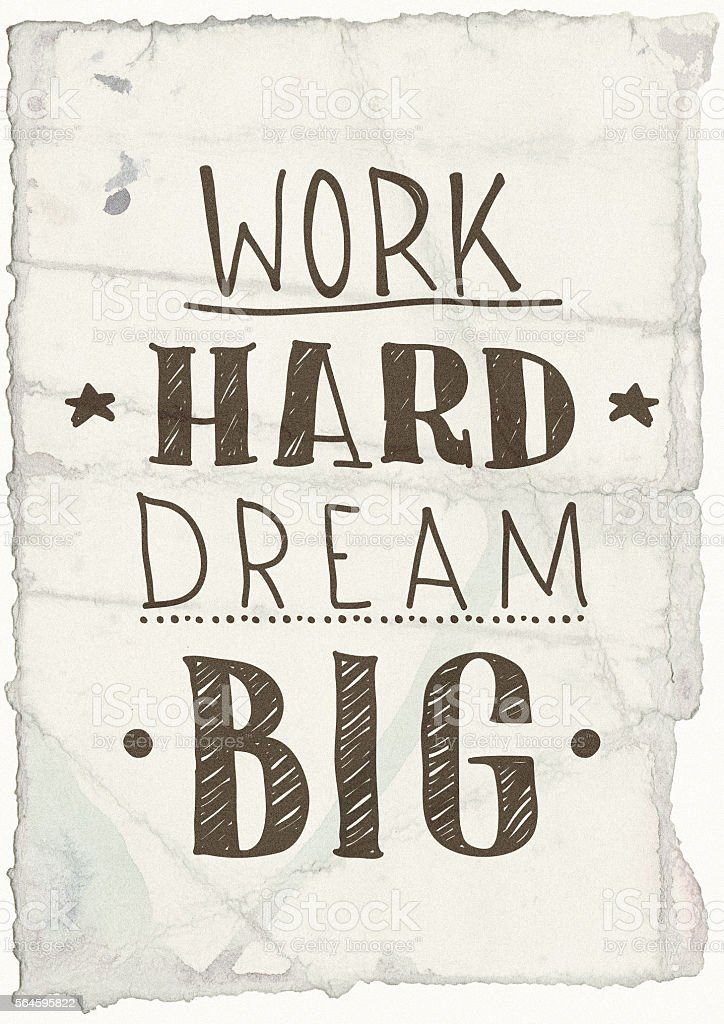 Quote poster Work hard dream big stock photo