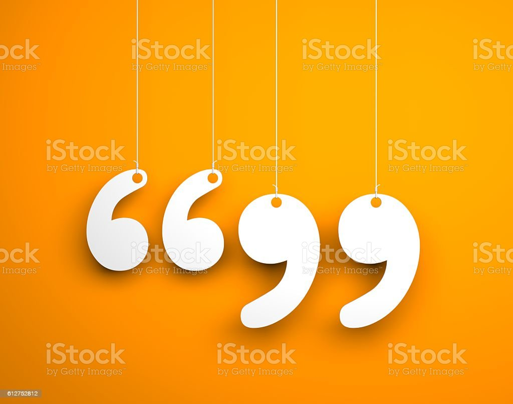 Quote sign - text hanging on the ropes stock photo