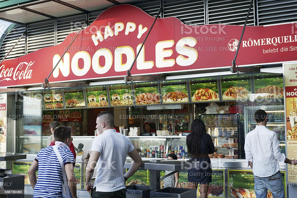 """""""Happy Noodles"""" street food stall in Vienna royalty-free stock photo"""