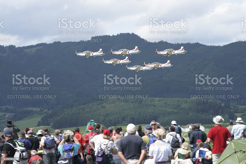 """Krila oluje"" aerobatic team performing at Airpower 11 royalty-free stock photo"