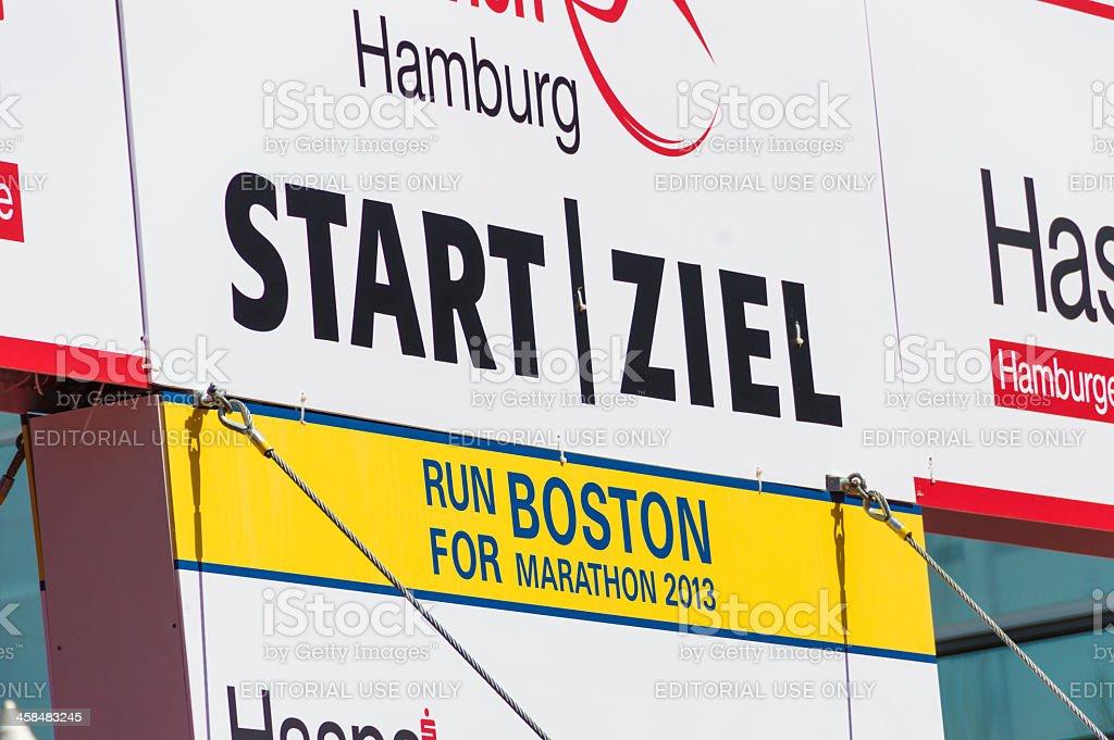"""Run for Boston Marathon 2013"" in Hamburg, Germany royalty-free stock photo"