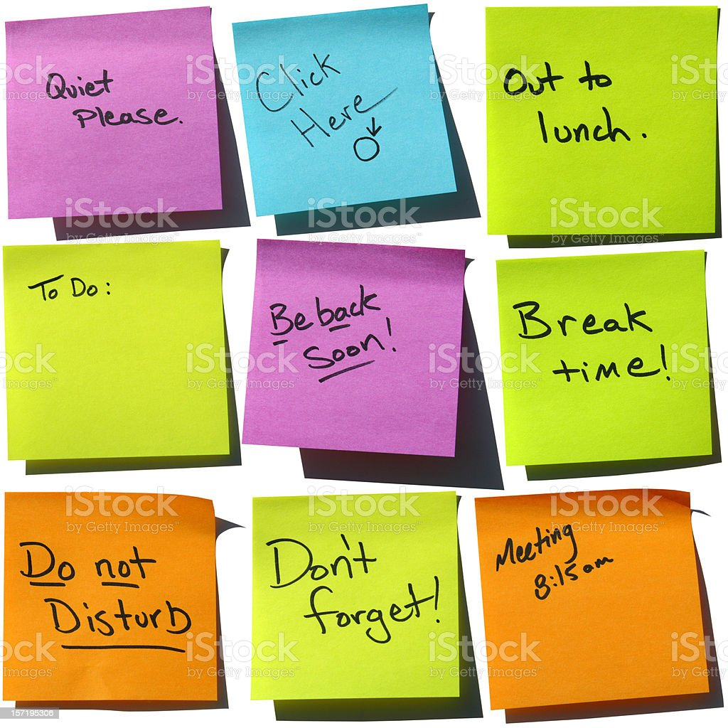 """""""Say it with Stickies"""": Business Concepts Post-it Notes royalty-free stock photo"""