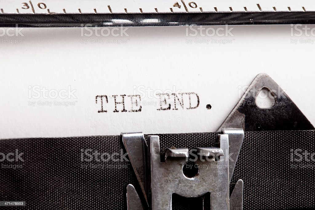 """The end"" typed using an old typewriter royalty-free stock photo"