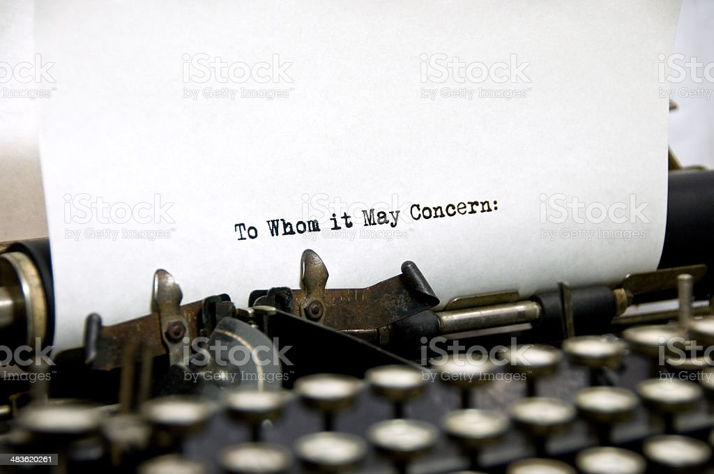"""To whom it may concern"" royalty-free stock photo"