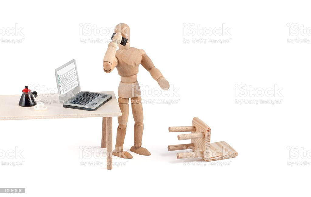 """""""what?"""" modern communication - wooden mannequin at work stock photo"""