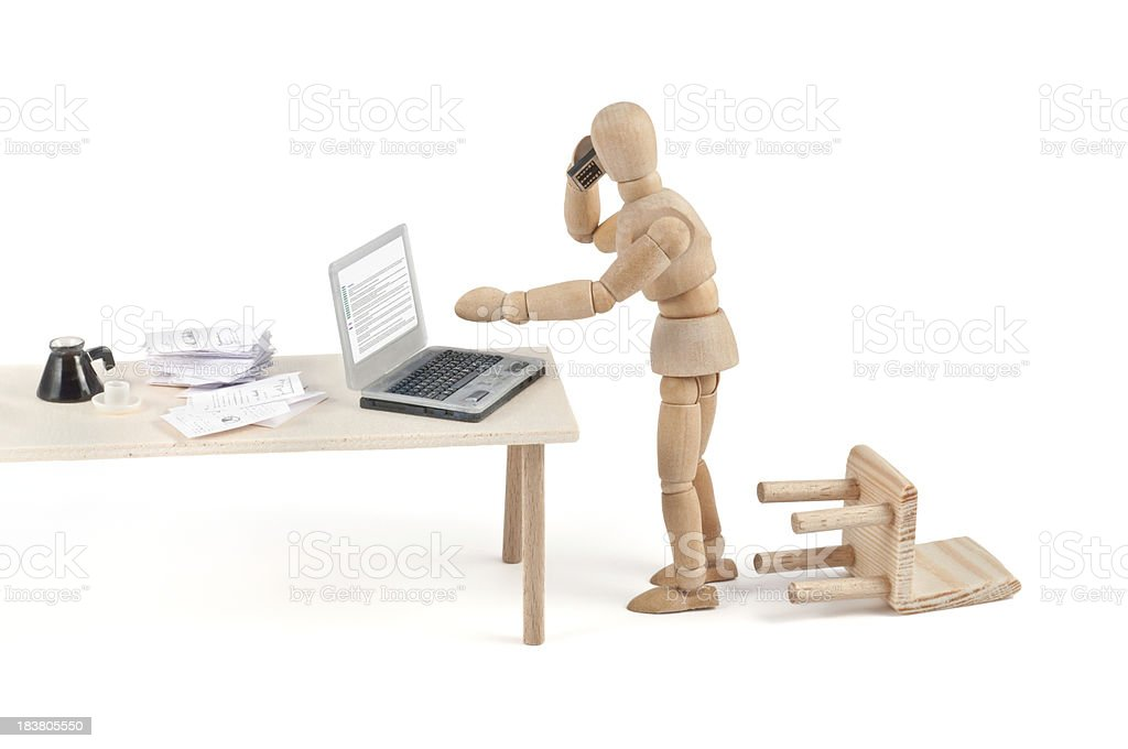 """""""what"""" modern communication - wooden mannequin at wor stock photo"""