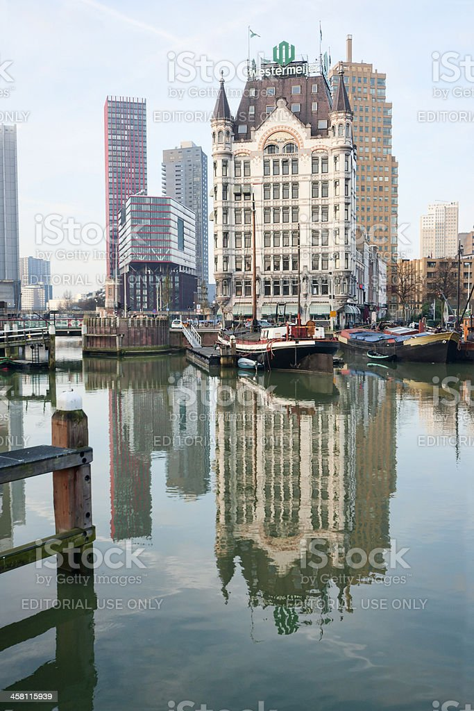 """Witte Huis"" reflected in the ""Oude Haven"" royalty-free stock photo"