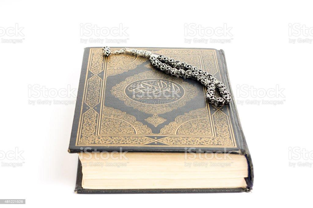 Quran with tasbeeh stock photo