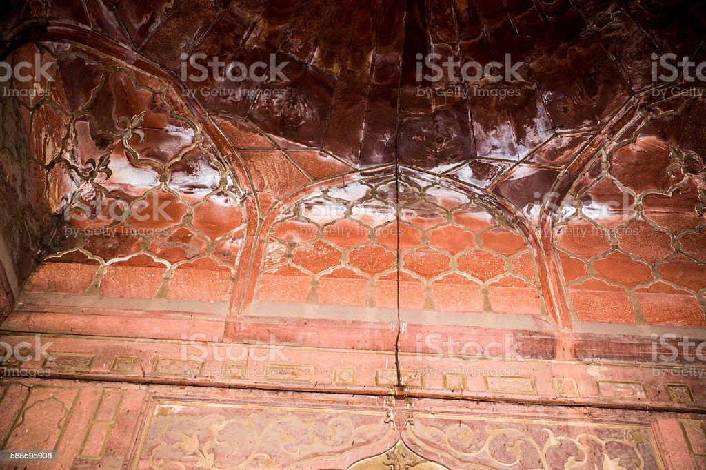 Qutab Minar Indo-Islamic architecture background stock photo