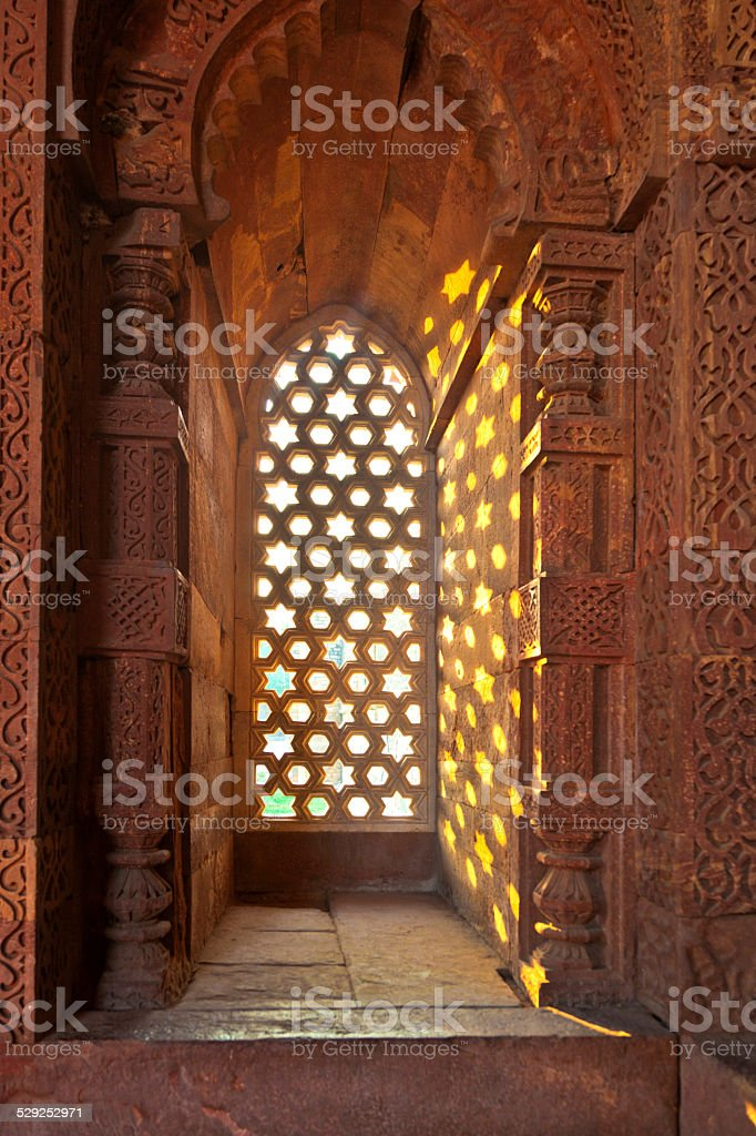 Qutb Minar, Delhi, carvings in the sandstone stock photo