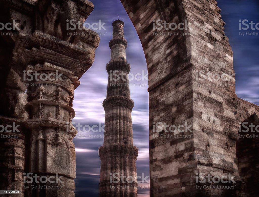 Qutub Minar at New Delhi India stock photo