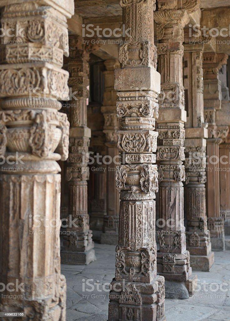 Qutub Minar - crafted pillars stock photo
